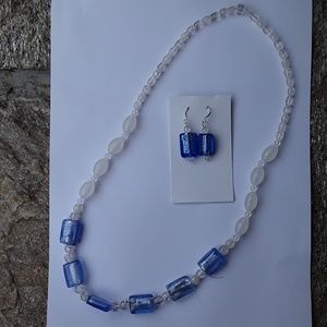 Jewelry - Handmade blue/white glass necklace and earring set